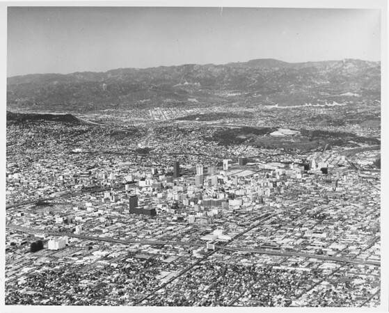 Aerial view of downtown Los Angeles looking northwest from Sixteenth Street and San Pedro Street