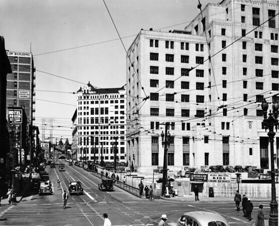 In Downtown Los Angeles facing north on Hill Street at West First Street in the heart of the Civic Center