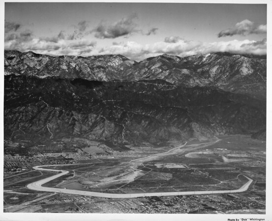 Aerial view of Santa Fe Flood Control Basin, City of Irwindale, facing north
