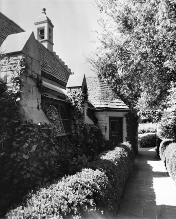 Stone chapel ivy-covered exterior at Forest Lawn Memorial Park