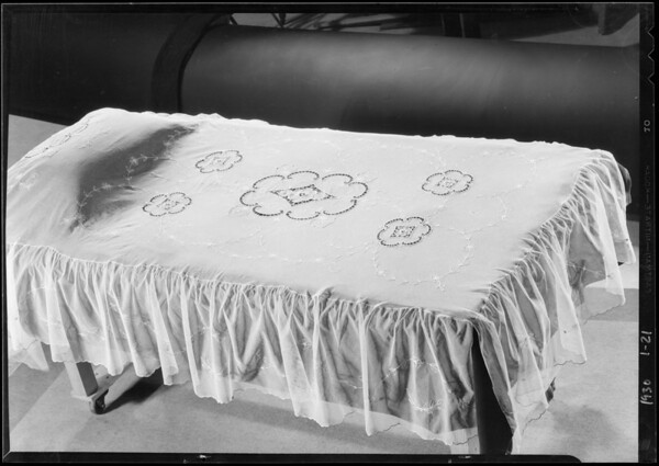 Lace bed spread, May Co., Southern California, 1930