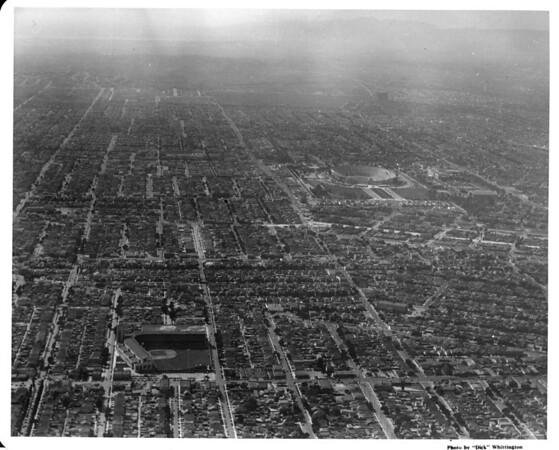 Aerial view of Los Angeles looking west