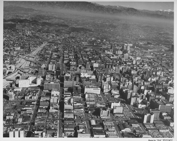 Downtown Los Angeles, Atcheson, Topeca & Sante Fe railroads, City Hall, aerial view facing north to Chavez Ravine