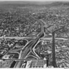 Downtown Los Angeles, interchange between the Harbor Freeway and the Hollywood Freeway, aerial view facing west