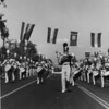 American Legion parade, Long Beach, drum corps led by a drum major