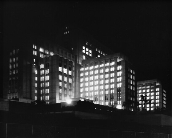 Los Angeles County Hospital on State Street in east Los Angeles at night