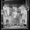 Tux Ginger Ale window display, Savoy Drug Co., 6th Street & Hope Street, Southern California, 1926