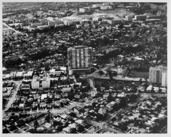 Aerial view facing north over Westwood at Wilshire Boulevard and Beverly Glen Boulevard