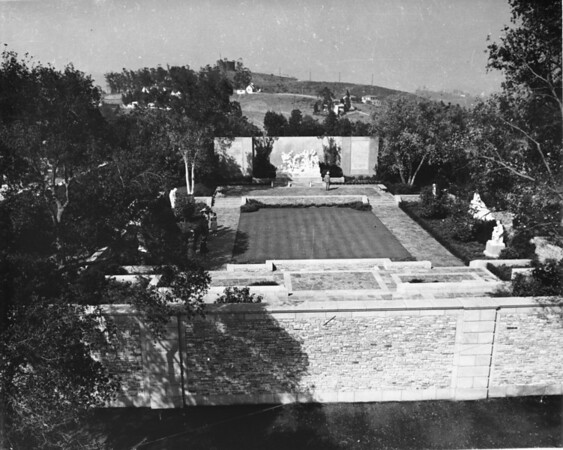 An overhead shot of a courtyard in the Forest Lawn Memorial Park