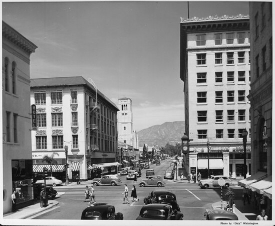 Looking at the Citizen's Commercial Trust and Savings Bank from its cross street along Colorado Boulevard