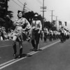American Legion parade, Long Beach, bugle corps led by drum major and drum majorette