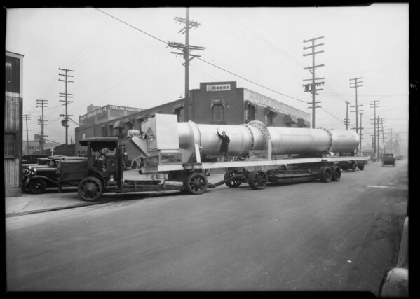 Large dryer on truck, Southern California, 1930
