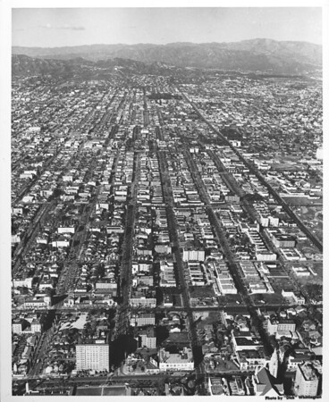 Aerial view looking north along Vermont Avenue from Wilshire Boulevard towards Hollywood from the Ambassador Hotel