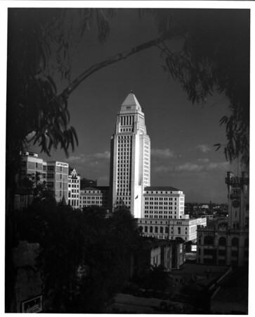 In the Civic Center of Downtown Los Angeles, looking eastward toward City Hall from West First Street between Hill Street and Broadway