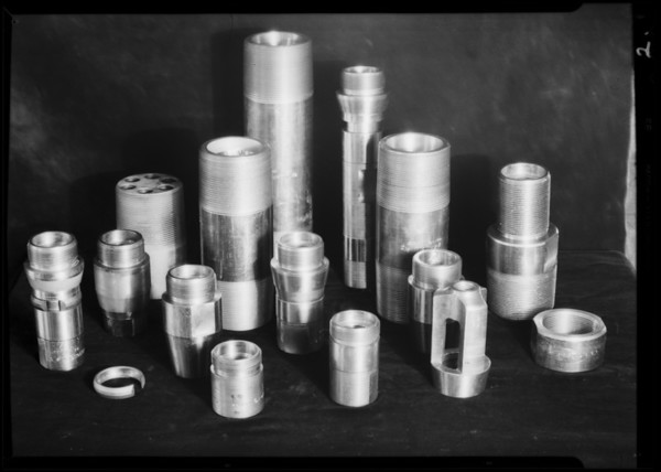 Pump valves and sucker rod couplings, Axelson, Southern California, 1931