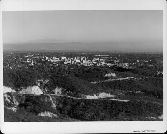 A panoramic aerial view of the Pasadena skyline