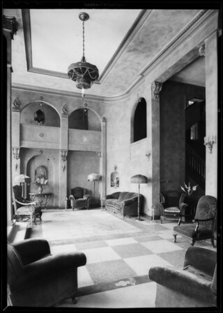 Lobby of Irving Hotel, Southern California, 1931