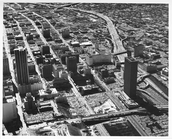 Aerial view of central downtown Los Angeles looking southwest from Fourth Street and Grand Avenue