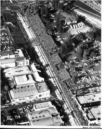 An aerial view of the Pasadena Rose Parade