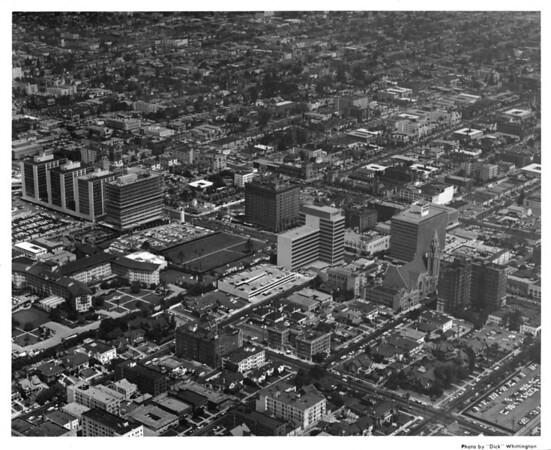 Aerial view, Koreatown, Ambassador Hotel, Wilshire Boulevard, Eighth Street, Texaco Building