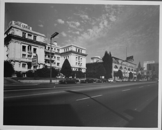 Looking down Orange Drive to Hollywood Boulevard with the Motor Hotel in the foreground, ca.1960-1970