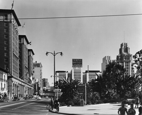In Downtown Los Angeles facing north on South Olive Street at Pershing Square