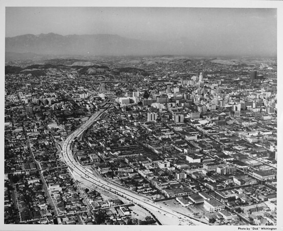 Aerial view of Harbor Freeway northbound overlooking Downtown Los Angeles, Civic Center