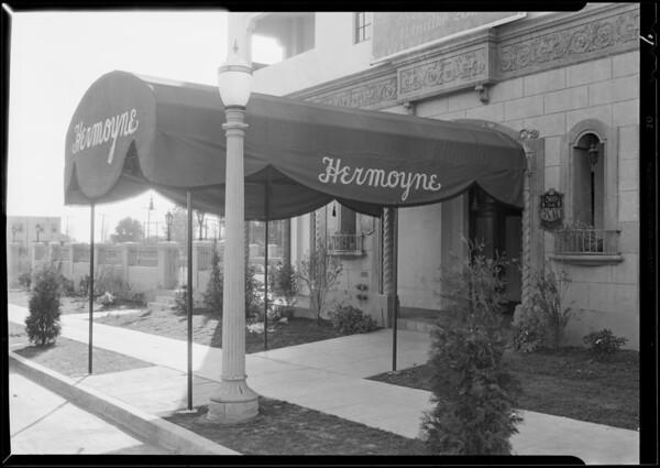 Exterior - lobby & entrance of Hermoyne Apartments, Rossmore Avenue & North Rosewood Avenue, Los Angeles, CA, 1930