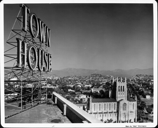 View from the roof of the Town House looking towards the First Congregational Church and surrounding community at Sixth Street and Commonwealth Avenue, Los Angeles, CA