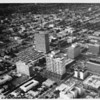 Aerial view of Los Angeles over Wilshire Boulevard and Kingsley Drive