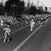 American Legion parade, Long Beach, drum corps led by drum major and drum majorette