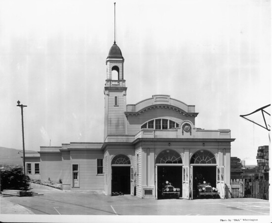 Fire Boat House No. 2 on Terminal Island with two fire engines parked inside