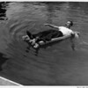 Residential home swimming pool in 1948, man fully clothed with pipe on float