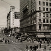 On the corner of South Hill Street at West Fifth Street in Downtown Los Angeles, facing the Hotel Clark