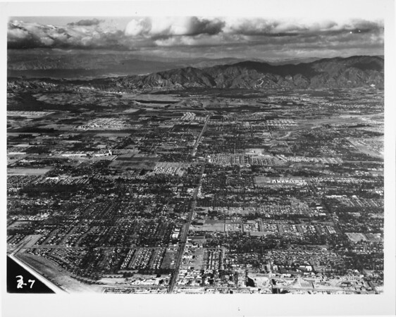 Aerial view looking towards the north of San Gabriel Valley
