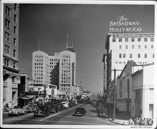 Looking down Hollywood Boulevard from Vine Street