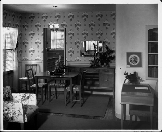 Furnished by Bullock's, dining area of 1948