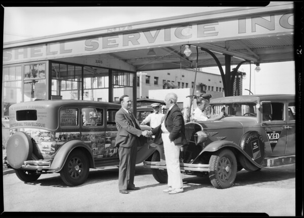 Elks caravan information cars at Shell station, Southern California, 1931