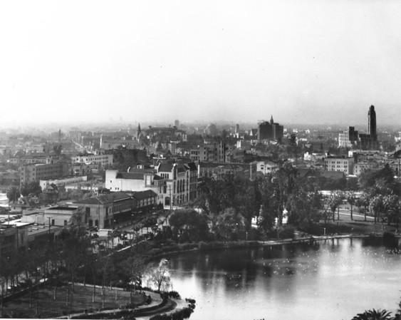 View of buildings on Wilshire Boulevard looking across MacArthur Lake