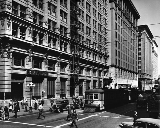 A Bank of America and other buildings on Seventh Street, near Broadway, looking east