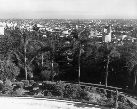 A high-angle view of the Japanese Gardens in Hollywood Franklin Park