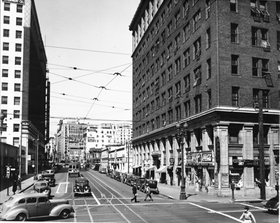 In Downtown Los Angeles facing north on South Broadway between West Eleventh Street and West Olympic Boulevard