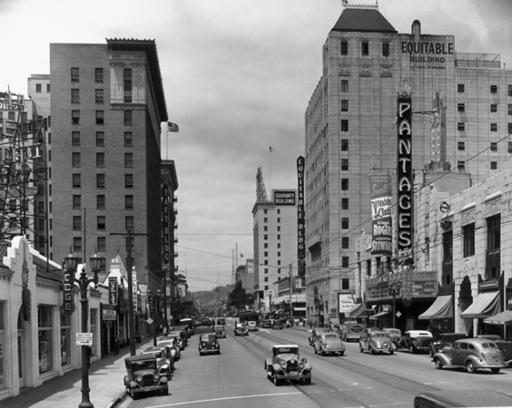 The Pantages Theatre can be seen looking down Hollywood Boulevard