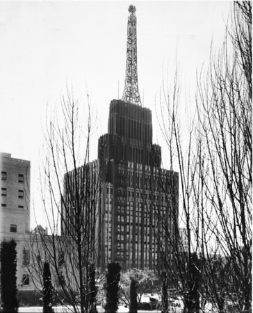 View of the Atlantic Richfield Oil Corporation Building from across Flower Street