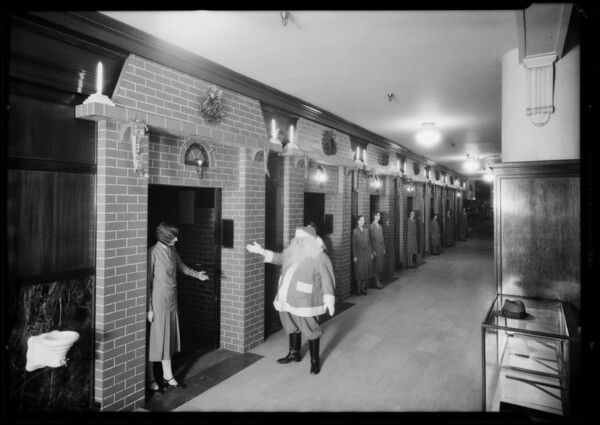 Elevators and Santa Claus, May Co., Southern California, 1930