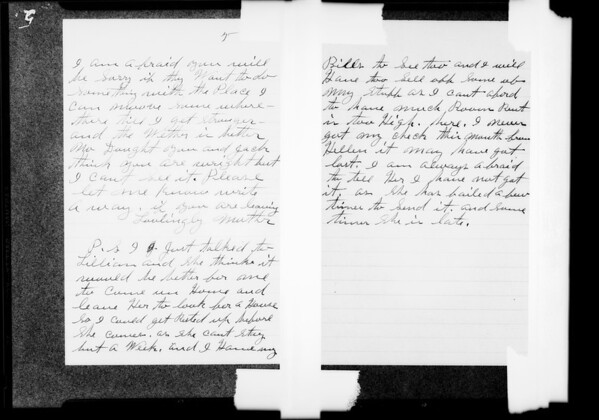 Letter to Ed Maddux from mother, Southern California, 1931