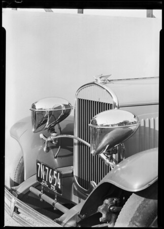 Chrysler roadster with bullet lights, Southern California, 1929