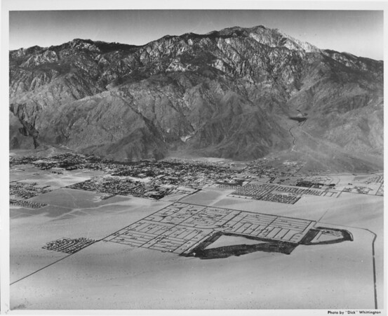 Aerial view (facing south) of Palm Springs, Palm Springs Country Club. Vista Chino and Sunrise Way
