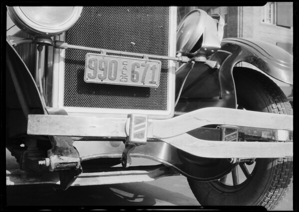 Onion Automobile Insurance Co., Stearns car hit by a motorcycle, Southern California, 1925