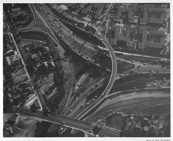 Aerial view of the interchange between the San Bernadino Freeway (I-10) and the Santa Ana Freeway (US-101) in Boyle Heights